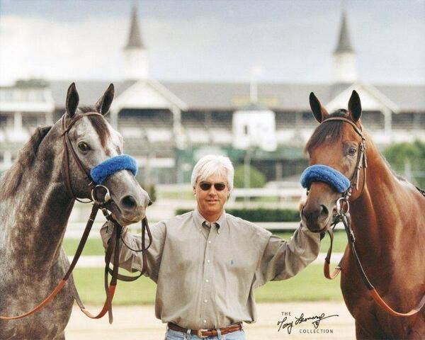 Famous photo by Tony Leonard  (now available through the Tony Leonard Collection at Frames on Main Gallery in Paris) of Bob Baffert's 1997 Kentucky Derby Winner SILVER CHARM and 1998 Kentucky Derby Winner REAL QUIET flanking him in front of Churchill Downs' twin spires.