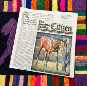 "American Pharoah on the front page of this week's ""The Bourbon County Citizen."""