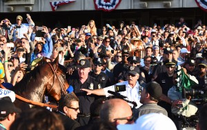 The crowd after The Belmont, as American Pharoah tries to make his way to the Winners' Circle.  (Photo by Murray West.)